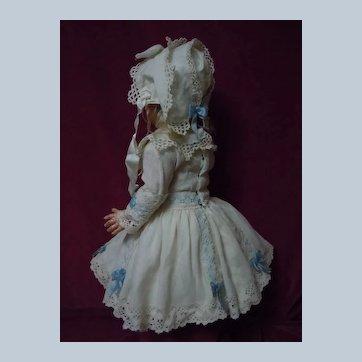 Beautiful Linen Dress Bonnet for antique french Bebe Jumeau Steiner Eden doll