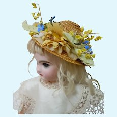 Charming Straw Hat Millinery flowers for cabinet sized doll