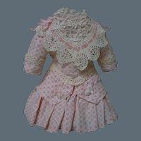 Lovely Taffeta Dress Bonnet for Antique cabinet sized French Bebe doll