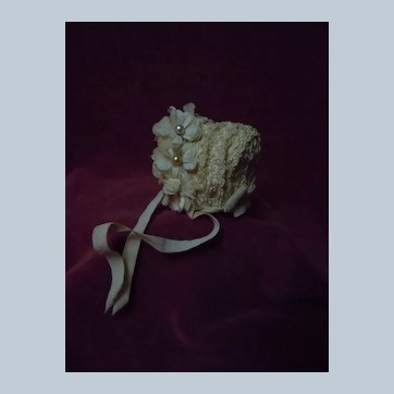 Beautiful Tiny Doll Hat for  antique French Bebe doll