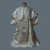 Gorgeous Mid Century Satin Silk Coat w/ Capelet for Huge Doll