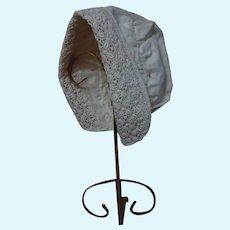 All Original Antique French Cap Coiffe cotton Bonnet for huge doll