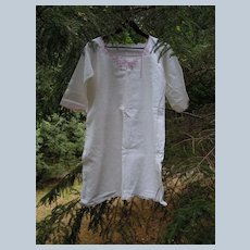 Antique 18th Century Traditional French Linen Chemise Embroidered Nightdress