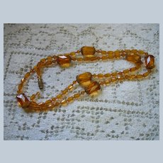 Vintage Amber Glass Faceted Beads Necklace