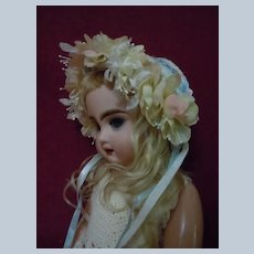 Charming Hat for cabinet sized antique French Bebe doll