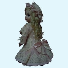 Exquisite Rose Organdy Dress Cap for Antique French Bebe Jumeau Steiner Eden Bru doll