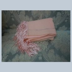 Mid Century Rose Woolen Blanket Pure silk Fringe for Doll Carriage or Decor