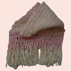 Exquisite Rose Cream wool pure silk Fringe Shawl