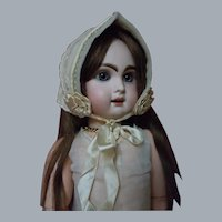Superb Antique Hand Embroidery  Bonnet for French Bebe doll