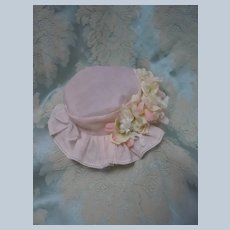Beautiful Rose Organdy Hat for French Bebe Jumeau Steiner Eden Bru doll