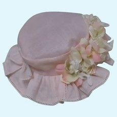 Beautiful Rose Organdy Hat for French Bebe Jumeau Steiner Eden Bru doll