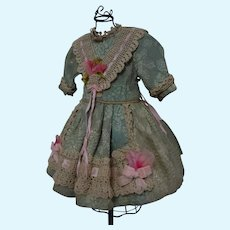 Aquamarine Silk Brocade Dress Cap for French Bebe Jumeau Steiner Eden Bru doll