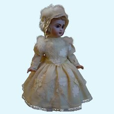 Gorgeous Embroidered Dress w/ Petticoat and Hat for french Bebe Jumeau Steiner Eden doll