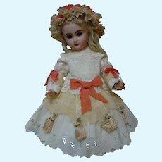 """Lovely white work Dress Cap Slip for 19-20"""" French Bebe antique doll"""