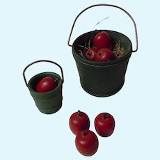 Two Vintage Miniature Christmas Decor Dollhouse Buckets w\ Red Apples