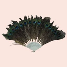 Antique Large Peacock Feathers Folding Fan