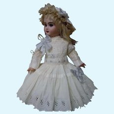 Charming white work Dress Cap Slip for French Bebe antique doll