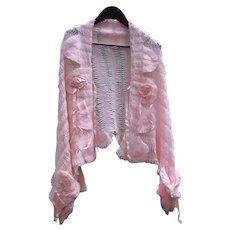 Superb Antique Crochet Hairpin Lace Jacket Wool Bed Shawl