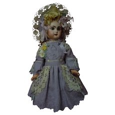 """Lovely Embroidered Cotton Dress and Hat for 23"""" French Bebe Antique Doll"""