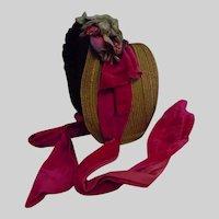 Superb All Original Plaited Natural Straw Hat 1860's for Huge Antique Doll