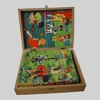 All Original Vintage Puzzle Set Wood Box w/ Lithograph pictures and 12 wooden Blocks
