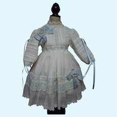 Exquisite White Work Batiste Dress and Bonnet for French Bebe Antique Doll