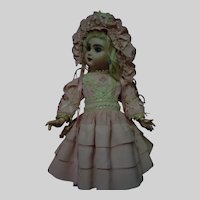 Lovely Taffeta Dress and Bonnet for Cabinet size French Bebe Antique Doll