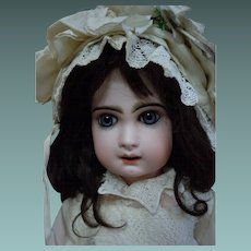"""Beautiful Antique 25"""" French bisque Bebe Jumeau Doll Deep blue glass paperweight eyes"""