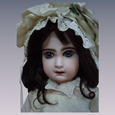 "Beautiful Antique 25"" French bisque Bebe Jumeau Doll Deep blue glass paperweight eyes"