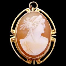 Vintage Art Deco 10K Gold Carved Shell Cameo Profile E L Spencer Pin Brooch