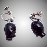 Vintage Los Ballesteros Taxco Mexican Sterling Silver Obsidian Earrings