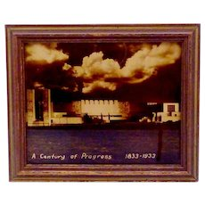 Vintage 1933 Chicago Worlds Fair Orotone Electrical Building Framed Art