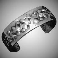 Vintage Gemcraft Gem-Craft Modernist Cast Sterling Silver Cuff Bracelet