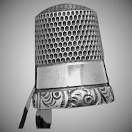 Antique Simons Bros Sterling Silver Size 10 Thimble Ornate Fancy Border