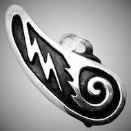 Vintage Southwestern Tribal Native Zuni Sterling Silver Large Lightening Earrings