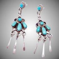 Vintage Bill Lou Laweka Zuni Sterling Silver Turquoise Pierced Dangle Earrings