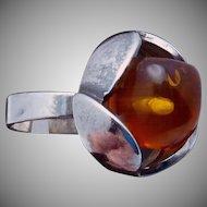 Vintage Modernist Sterling Silver Amber Ring