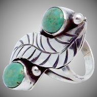 Vintage Southwestern Sterling Silver Double Turquoise Showy Ring