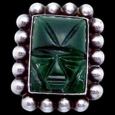 Vintage Carmen Beckmann Taxco Mexican Sterling Silver Green Stone Pi