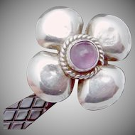 Vintage Taxco Mexico Mexican Sterling Silver Amethyst Flower Earrings