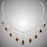 Vintage European Italian 800 Silver Cannetille Citrine Gemstone Necklace