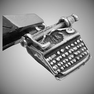 Vintage Sterling Silver Moveable Manual Typewriter Office Charm Pendant