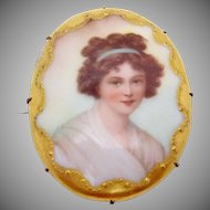 Antique Victorian Gold Filled Tole Painted Woman China Pin Brooch Large