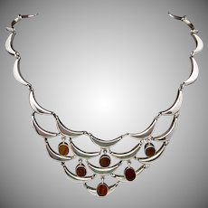 Vintage Robles Taxco Mexican Sterling Silver Tiger Eye Pectoral Necklace