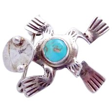 Vintage Navajo Sterling Silver Turquoise Small Frog Pin