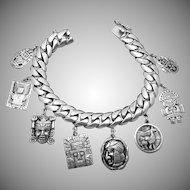 Vintage Industria Peruana Peru Peruvian Sterling Silver Heavy Charm Bracelet