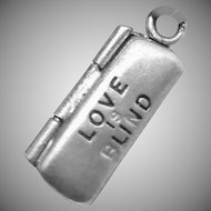 Vintage Sterling Silver Moveable Love Is Blind Glasses Charm Pendant