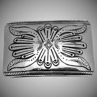 Vintage T A Begay Navajo Large Sterling Silver Belt Buckle Santa Fe Style