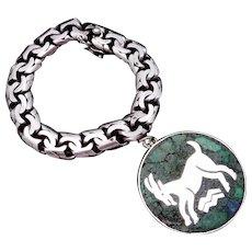 Vintage Taxco Mexican Sterling Silver Stone Aries Capricorn Biker Bracelet
