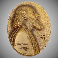1924 Vintage Bronze Cameograph Anton Lang Christ Medal Original Signature